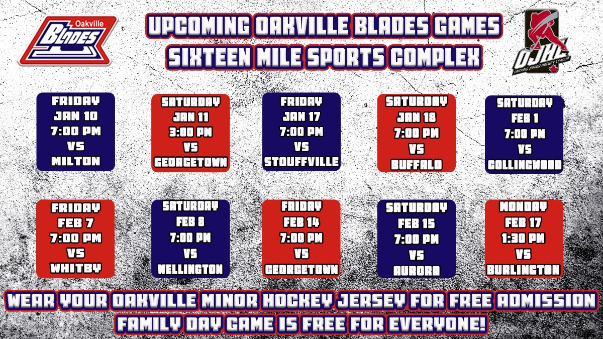 Upcoming Oakville Blades Home Games